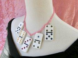 画像3: Dominoネックレス White×Pinkチェーン