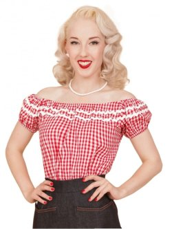 画像1: Vivien of Holloway Gypsy Top Gingham Red SizeM (9号)