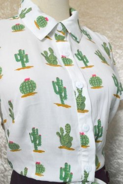 画像2: ☆Collectif☆SAMMY CACTUS PRINT TIE BLOUSE 13号