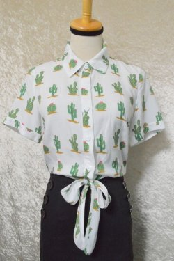 画像1: ☆Collectif☆SAMMY CACTUS PRINT TIE BLOUSE 13号