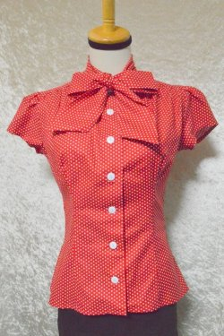 画像1: ☆Heart of Haute☆ Estelle Blouse - Polka Dot Red(XS)7号