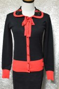 ☆H&R☆Rose Cardigan In Black Red (S) 9号