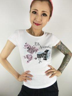 画像2: チェリハニプリント☆Drum PoodleTシャツ White  Size S