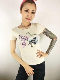 画像1: チェリハニプリント☆Drum PoodleTシャツ Natural Size L