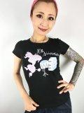 チェリハニプリント☆Drum PoodleTシャツ Black Size XL
