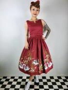 他の写真1: ☆Lindy Bop☆Delta Wine Swan Border Print Swing Dress 9号