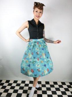 画像2: ☆Lindy Bop☆Pryia Green SeaHorse Friends Print Swing Skirt 11号