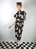 ☆Lindy Bop☆Emma Black Nostalgic FloralPrint Wiggle Dress 7号