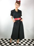 Vivien of Holloway Tea Dress Black Red Piping Size12(11号)