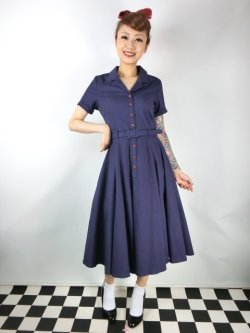 画像1: ☆Collectif☆CATERINA SWING DRESS Navy 17号