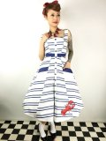 ☆Collectif☆ Sandrine Lobster Stripe Swing Dress 9号