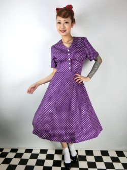 画像2: ☆Lindy Bop☆Ionia Purple Polka Dot Tea Dress 13号