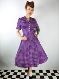 ☆Lindy Bop☆Ionia Purple Polka Dot Tea Dress 11号