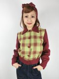 ☆Freddies of Pinewood☆Wine and Green Plaid 1940s Jacket (S) 9号