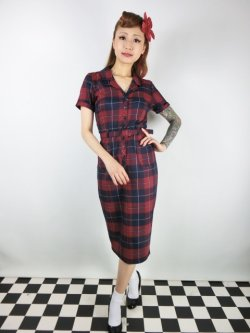 画像2: ☆Collectif☆CATERINA GINSBURG CHECK PENCIL DRESS Red/Navy 13号