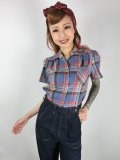 ☆Freddies of Pinewood☆Blue Plaid Work Blouse (UK14) 15号