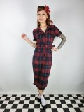 ☆Collectif☆CATERINA GINSBURG CHECK PENCIL DRESS Red/Navy 17号