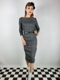 ☆Collectif☆ADELINE LIBRARIAN CHECK PENCIL DRESS Charcoal 15号
