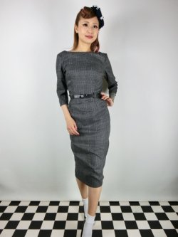 画像1: ☆Collectif☆ADELINE LIBRARIAN CHECK PENCIL DRESS Charcoal 11号