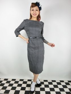 画像2: ☆Collectif☆ADELINE LIBRARIAN CHECK PENCIL DRESS Charcoal 13号