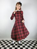☆Collectif☆MARIKA REBEL CHECK SWING DRESS Black/Red 11号