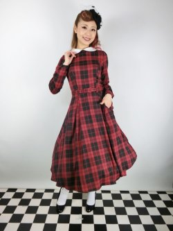 画像1: ☆Collectif☆MARIKA REBEL CHECK SWING DRESS Black/Red 13号