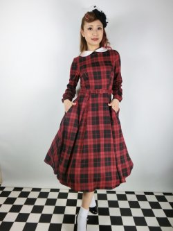 画像2: ☆Collectif☆MARIKA REBEL CHECK SWING DRESS Black/Red 13号