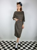 ☆Collectif☆ADELINE LIBRARIAN CHECK PENCIL DRESS Brown 15号
