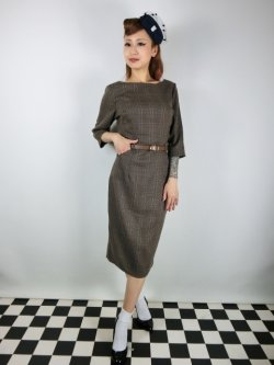 画像1: ☆Collectif☆ADELINE LIBRARIAN CHECK PENCIL DRESS Brown 13号