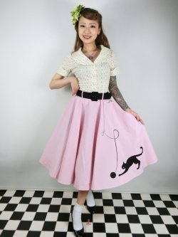 画像1: ☆Collectif☆KITTY CAT SWING SKIRT Pink 15号