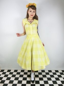 画像2: ☆Collectif Vintage☆MATILDE SUN CHECK SWING SKIRT Yellow 9号