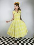 ☆Collectif Vintage☆MATILDE SUN CHECK SWING SKIRT Yellow 13号