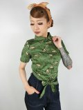 ☆Collectif☆SAMMY WILD WEST PRINT TIE BLOUSE 15号