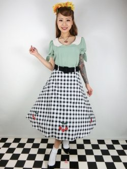 画像1: ☆Collectif☆CHERRY VINTAGE GINGHAM SWING SKIRT 17号