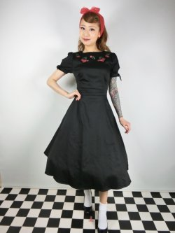画像2: ☆Collectif☆STEPHANIE CHERRY EMBROIDERY SWING DRESS  13号