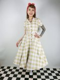 ☆Collectif Vintage☆CATERINA 50S GINGHAM SWING DRESS Mustard 17号