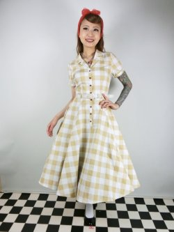 画像1: ☆Collectif Vintage☆CATERINA 50S GINGHAM SWING DRESS Mustard 17号