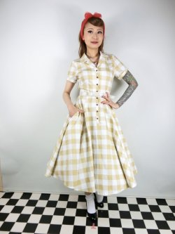 画像2: ☆Collectif Vintage☆CATERINA 50S GINGHAM SWING DRESS Mustard 17号