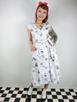画像2: ☆Collectif☆JOICE OCEAN MAP SWING DRESS 17号