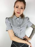 ☆Lucky13☆SHAKE SHACK Vintage Ticking Striped Top-BLACK/WHITE(S)9号