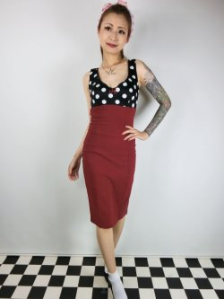 画像2: ☆Lucky13☆JAYNE Wiggle Dress-RED/BLACK(XL)15号