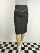 他の写真1: ☆Lucky13☆SUGAR SHACK Denim Slub Pencil Skirt-BLACK(L)15号