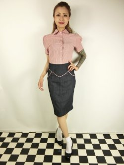 画像1: ☆Lucky13☆SUGAR SHACK Denim Slub Pencil Skirt-INDIGO(XL)17号