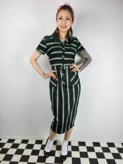 画像1: ☆Collectif☆ CATERINA WITCH STRIPES PENCIL DRESS 15号