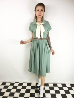 画像1: ☆Lindy Bop☆Tally Mae Sage Green Swing Dress 11号