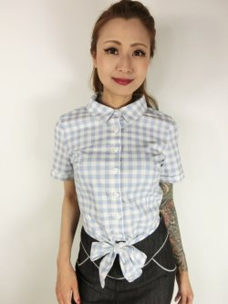 画像1: ☆Collectif☆SAMMY VINTAGE GINGHAM TIE BLOUSE 15号