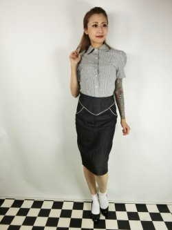画像1: ☆Lucky13☆SUGAR SHACK Denim Slub Pencil Skirt-BLACK(XL)17号
