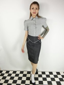 画像2: ☆Lucky13☆SUGAR SHACK Denim Slub Pencil Skirt-BLACK(XL)17号