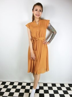 画像1: ☆Lindy Bop☆Kody Mustard Tea Dress 15号