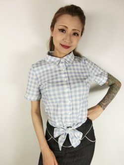 画像2: ☆Collectif☆SAMMY VINTAGE GINGHAM TIE BLOUSE 15号